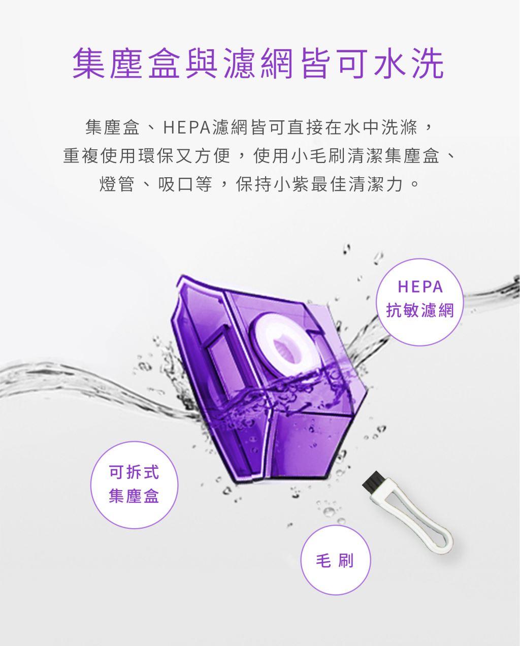 小紫集塵盒與濾網皆可水洗,重複使用更環保